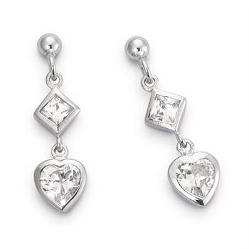CORE Damen Ohrhänger aus Silber Herz & Zirkonia