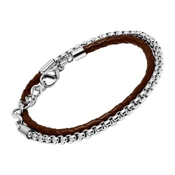 Armband aus braunem Leder und Edelstahl LB0503
